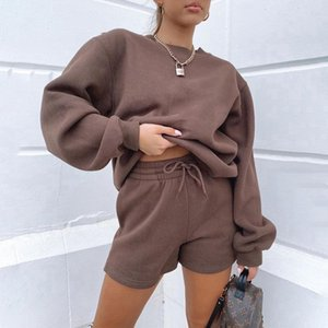 Women's Tracksuits 2021 Sports 2 Piece Set Jumper Pullover Cotton Suits Hoodies+Shorts Fall Winter Clothes Women Two Outfits
