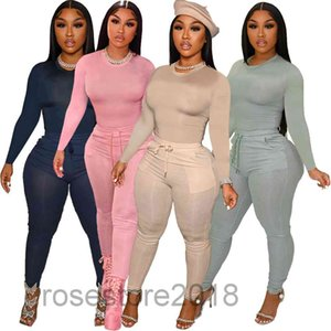 2021 autumn Women's Two Piece Pants Fashion Women Set Solid long sleeve Tops Draw String Waist Pocket 2 Tracksuit Casual Outfit cy309