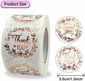 """500PC Roll THANK YOU Stickers Rose Gold Envelope Seals Label Adhesive Stickers 1.5"""" For Gifts Packaging"""