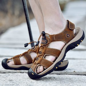 MIXIDELAI Hakiki Deri Erkek Ayakkabı Yaz Yeni Büyük Boy Erkek Sandalet Erkekler Sandalet Moda Sandalet Terlik Büyük Boy 38-47