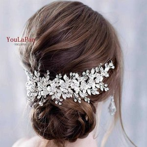 YouLaPan Bridal Hair Comb Clip Jewelry Barrette Handmade Flower Headband Head Pieces for Women Tiara 210616