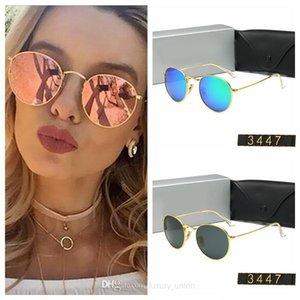 Klasik Yuvarlak Güneş Gözlükleri Marka Tasarım UV400 Gözlük Metal Altın Çerçeve Güneş Gözlükleri Erkekler Kadınlar Ayna 3447 Güneş Gözlüğü Polaroid Moda Cam Lens 11 Renk