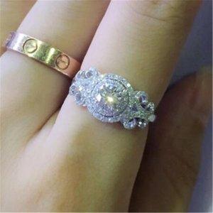 Vecalon Flower Ring 925 Sterling Silver Bijou Diamante Zircão CZ Engajamento Casamento Banda Anéis para Mulheres Partido Nupcial Fine Jóias