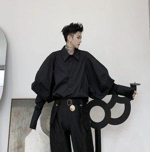 Рубашка слоеного рукава мужчины длинные подростковые корейский модный панк кардиган мужской личности черные мужские повседневные рубашки