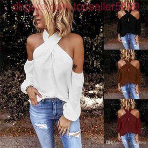 십자가 홀터 티셔츠 엉덩이 솔리드 컬러 백리스 긴 소매 디자이너 여성 티 캐주얼 섹시한 간단한 여름 티셔츠