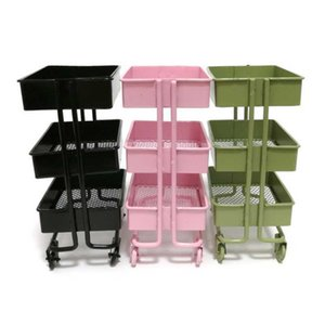 Mini Trolley Floor Storage Rack with Wheels Dollhouse Miniature Furniture Shelf Bookshelf Storage Display Rack Decorate 210705