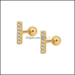 Jewelryfashion Cz Clear Crystal Gem Zircon Bar Earrings Korean Style Bone Nails Round Stud Earring For Elegant Girls Women Design Party Drop