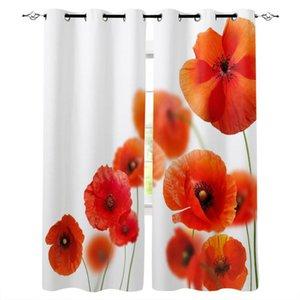 식물 붉은 양귀비 꽃 블랙 아웃 커튼 홈 장식 거실 창 어린이 침실 커튼 커튼 드랩