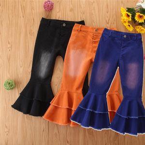 Детские девочки джинсы брюки малыша дети детские твердые отверстия разорванные ботинки милые вспышки длинные джинсовые колоколковые брюки