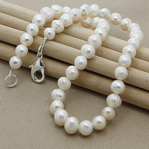8mm Natural Pearl White Pink Purple 925 Sterling Silver 18Inch Chain Necklace Woman Engagement Wedding Jewelry 748 Z2