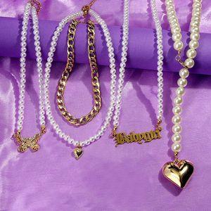 Choker Color Pearl Flatfoosie Necklace For Women Gold Multilayer Crystal Butterfly Cross Pistol Pendant Neckla