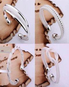 2021 Sale 925 Silver Fashion Bangle Bracelets Mix 4 Style Shining Bangle Bracelets Women's Jewelry 20pcs lot Christmas best gift