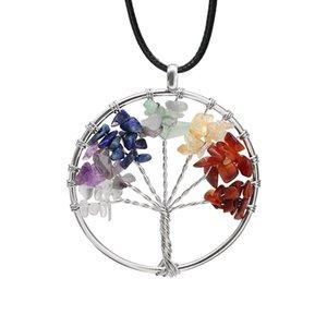 Hayat Ağacı Kuvars Kolye Kolye Gökkuşağı 7 Çakra Çok Renkli Doğal Taş Bilgelik Ağacı Deri Zincir Kolye Kızlar için 309 T2