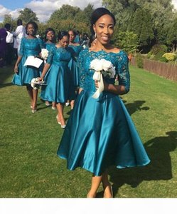 Cheap Elegant Short Bridesmaid Dresses For Weddings Teal Satin Lace Half Sleeves Tea Length Plus Size Formal Maid Honor Gowns Custom Made