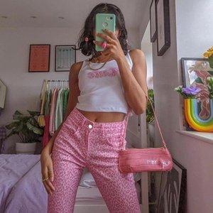 Женские брюки капризы розовый леопард принт с высокой талией y2k джинсы женщины мода уличная одежда Cargo 90s эстетический вспышек джинсовые брюки лето 2021