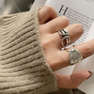 Korean East Gate Chain Knot Wrapped Wide Edge Ring Female Index Finger S925 Sterling Silver Fashion Opening H7mw