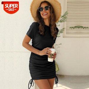 Neue Sommer über Knie, mini kurze Oansatz Mantel Streetwear Solide Natürliche drapierte reguläre Baumwolle MSFilia # NA1I