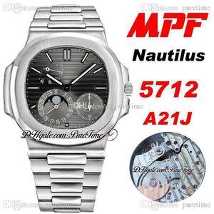 2021 MPF 5712 A21J Automatic Power Reserve Mens Watch Moon Phase Black Texture Dial Stainless Steel Bracelet 40mm Super Quality PTPP Puretime PZ01a1