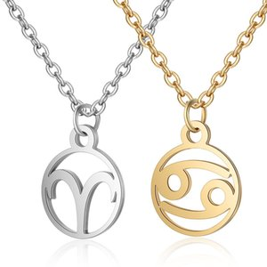 12 Stainless Steel Constell Pendant Necklace Silver Gold Zodiac Horoscope Sign Necklace Chains for women fashion jewelry