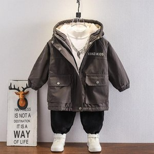 Coat Winter Children Boys Coats Warm Hooded Long Jacket Plus Velvet Cotton Thick Trench Letter 9yrs Kids Clothes Casual Overcoat