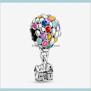 Ankunft 100% 925 Sterling Silber Bunte Emaille Ballons Charme Fit Original Europäischen Charme Armband Modeschmuck Zubehör V1RC YV3QO