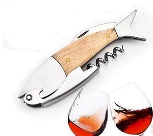 Multifunction Corkscrew wine opener Fish Shape Wines Bottle Opene 3D Fishs Shapes Wood Handle Openers Tool Accessories CCA6854