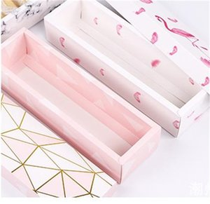 Flamenco / mármol / Patrón de plumas Papel Papel Caja de embalaje Turrón Caja de regalo Caja de regalo Caja de chocolate de boda Papel de pan Cajas 366 S2
