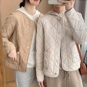 Women's Trench Coats Winter Short Style Cotton Padded Jacket Women Casual Wide Waist Argyle Collarless Khaki Fashion Quilted Female Parkas C