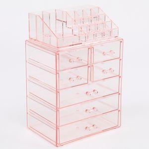 2 teile / satzacrylkosmetikspeicherschubladen beinhaltet 1 Rack mit mehreren Fächern und einem Kabinett