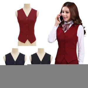 Spring fashion business ladies vest work wear uniforms Slim V-Neck Formal jackets for women office vest coat plus size tops