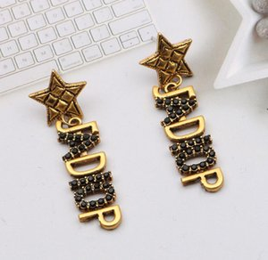 Vintage Womens Brand Designer Letter Stud Earrings Geometric Star Luxury Womens Bronze Inlay High Quality Crystal Rhinestone Earring Party Jewerlry Accessories