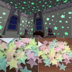 3D Stars Glow In The Dark Wall Sticker Luminous Fluorescent Stickers For Kids Baby Room Bedroom Ceiling Home Decor 1Bag 100pcs IIA962