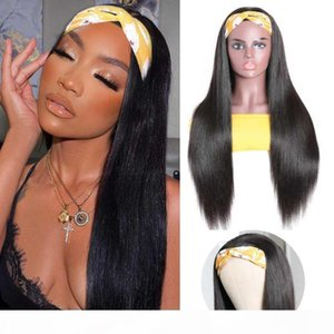 Queenlife 30inch cabelo humano headband cachecol peruca heterossexual peruca de cabelo humano não arrancando perucas para mulheres sem cola costurar mais pêlos