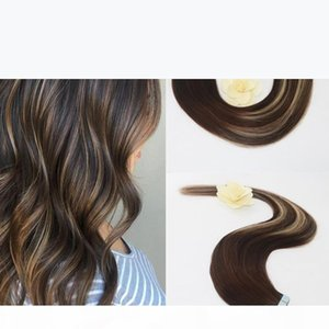 Evermagic 20pcs 50g Two Tone Color#3 Fading to #24 Mixed Honey Blonde Colorful Highlight Balayage Seamless Tape in Human Hair Extensions