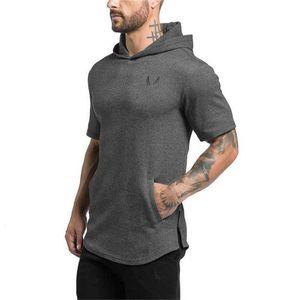 2019 Erkekler Giyim Vücut Geliştirme Hoodies Tişörtü Rahat Spor Salonları Hoody Kısa Kollu Kazak erkek Slim Fit Kapüşonlu Ceketler T200616