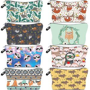 Sloths Printing Cosmetic Bags Mandala Flower Patterns Toiletry Pouch Makeup Organizer Waterproof Zipper Travel Storage Package