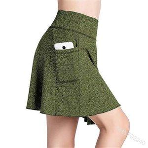 Women's Shorts Skort High Elastic Waist Push Up Polyester Lightweight Skirt For Running Tennis Golf Workout Sports R5