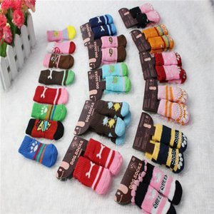 Dog Apparel 100pcs 25 Pairs Cute Warm Pet Socks Cotton Knitting Wool Doggy Shoes Anti-slip Cat Puppy Footprints