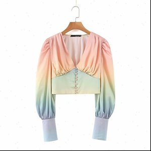 DEAT Womens Blouses Summer Fashion Casual Long Sleeve V Neck Patchwork Double breasted Pleated Short Shirt Top Wimen SE292