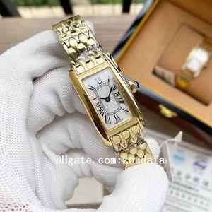 2021 Hohe Qualität Luxus Tank Americaine Damen Marke Quartz Uhren Joker Fisch Maßstab Diamant Armbanduhren Klassische Quadrat Santos Womens Watch 20 * 35mm D3160