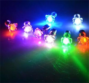 Stud Earrings Wholesale Flower Shape LED Earring Light Up Bling Ear Studs Earrings Dance Party Channel Earrings 102 O2