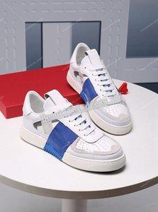 Valentino casual shoes  prueba de agua Hombres y mujeres italianos zapatillas de deporte abiertas con tachuelas a rayas 1.1 Pisos de cuero de alta calidad Casual S