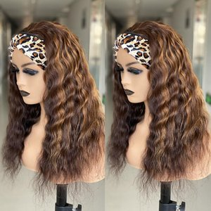 Hair Bulks Honey Blonde Water Wave Headband Highlight Colored Curly Human With Brazilian For Women