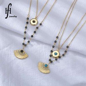 collar 14k oro doble capa turquesa de diamante con forma de fan ginkgo hoja titanio acero redondo marca ocho estrella sol collar