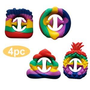 Aliviando o stress sensorial mão brinquedos anti-ansiedade apreensão clique dedo brinquedos arco-íris criativo colorido ventilado aperto anel toy