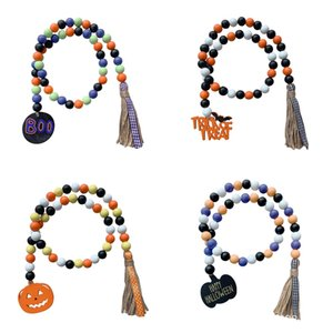 Wall Decor Halloween Wood Bead Garland Decorated with Pumpkin Pendants Tassel Farmhouse Beads Party Favor Pendant Signs Decorations M3803
