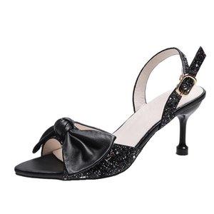 Sandals Women's 2021 Summer Fine Flash Fairy Style Open-toed Fish Mouth Bow Temperament Word Belt Women