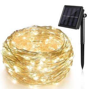 LED 문자열 램프 구리 와이어 태양 광 조명 10 20m IP65 방수 조명 8 모드 야외 정원용 크리스마스 웨딩 파티 트리 장식 휴일 조명