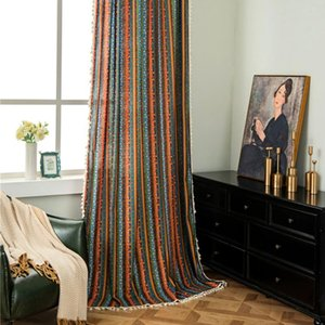 Curtain & Drapes With Tassels El Window Screening Living Room Country Style Home Decor Hanging Stripe Pattern Darkening Soft Panel