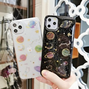 Flash Powder Star Drop Adhesive Planet TPU Material cases Type Soft Shell Back Cover Mobile Phone Case for iPhone 12 11 pro max xr